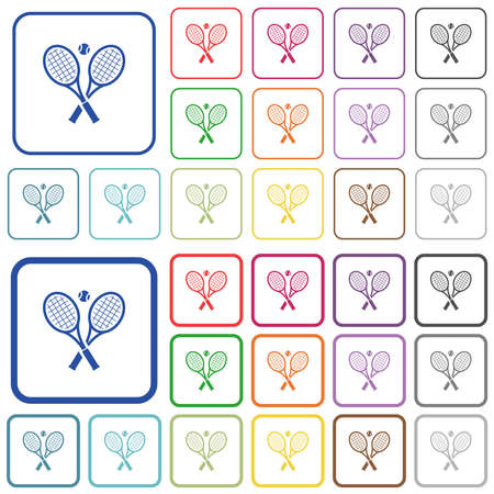 Tennis rackets with ball color flat icons in rounded square frames. Thin and thick versions included. Illustration