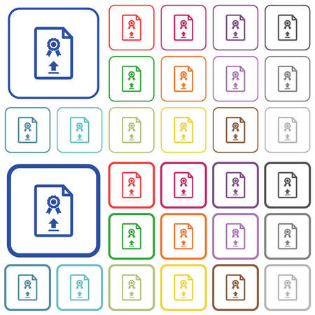 Upload certificate color flat icons in rounded square frames. Thin and thick versions included.