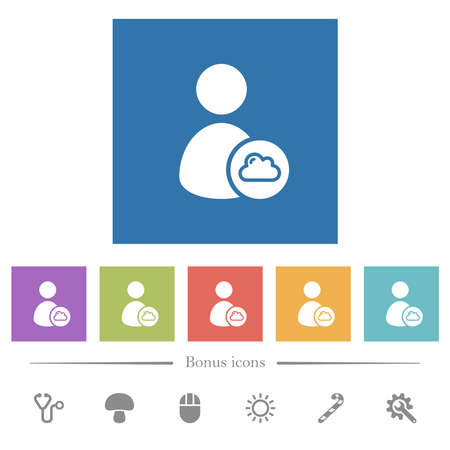 Cloud user account management flat white icons in square backgrounds. 6 bonus icons included.