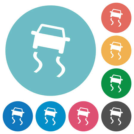 Slippery road dashboard indicator flat white icons on round color backgrounds