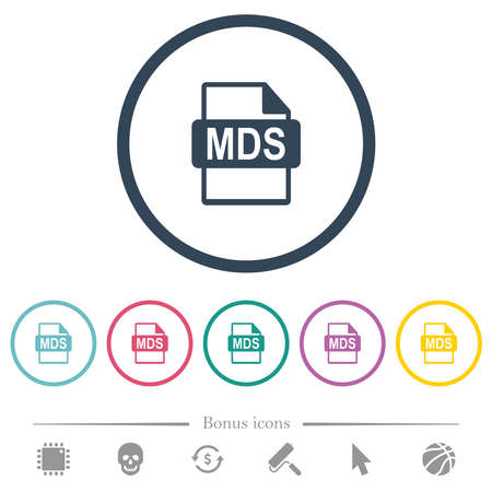 MDS file format flat color icons in round outlines. 6 bonus icons included. 免版税图像 - 156386510