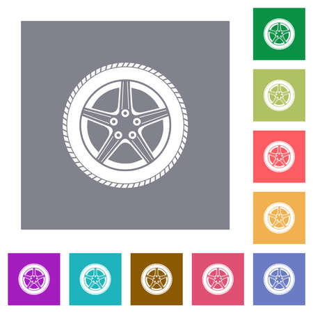 Car wheel flat icons on simple color square backgrounds