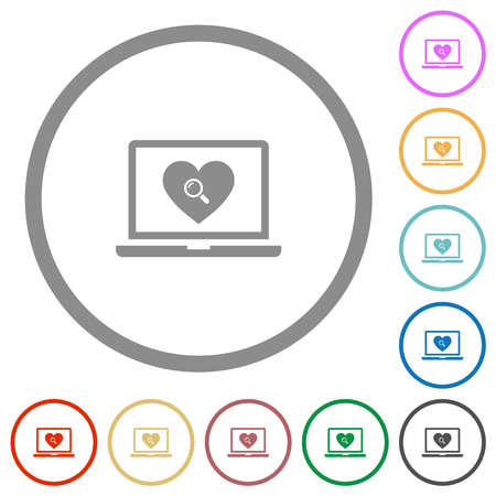 Online dating on laptop flat color icons in round outlines on white background