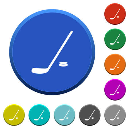 Hockey stick and puck round color beveled buttons with smooth surfaces and flat white icons