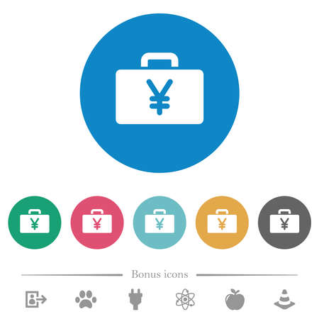 Yen bag flat white icons on round color backgrounds. 6 bonus icons included.
