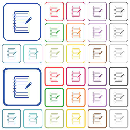 Spiral notepad with pencil color flat icons in rounded square frames. Thin and thick versions included. 矢量图像