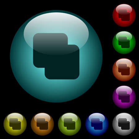 Add shapes icons in color illuminated spherical glass buttons on black background. Can be used to black or dark templates