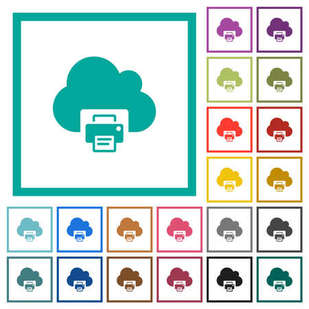 Cloud printing flat color icons with quadrant frames on white background