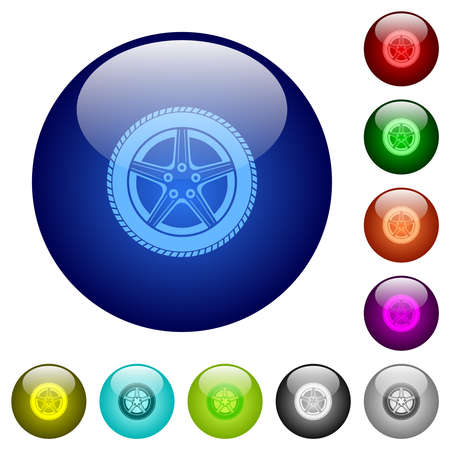 Car wheel icons on round glass buttons in multiple colors. Arranged layer structure