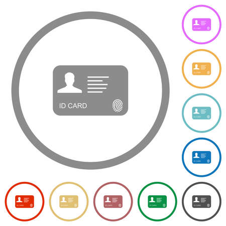 ID card with fingerprint flat color icons in round outlines on white background