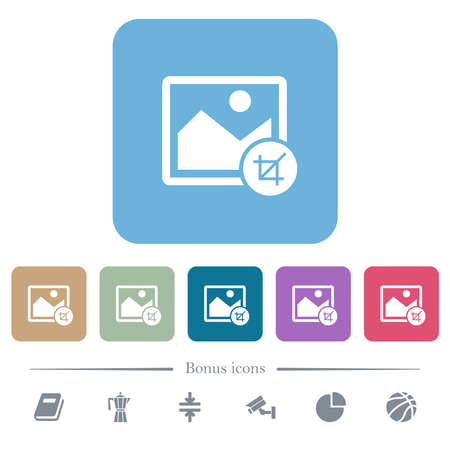 Crop image white flat icons on color rounded square backgrounds. 6 bonus icons included