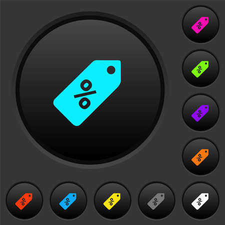 Discount price label dark push buttons with vivid color icons on dark gray background 向量圖像