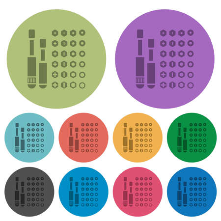 Set of screwdriver bits darker flat icons on color round background