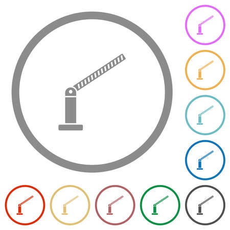 Opened barrier flat color icons in round outlines on white background