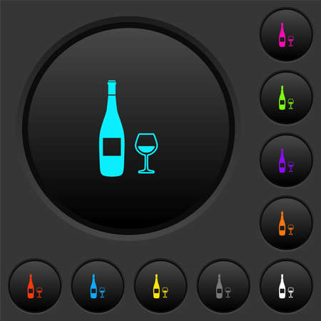 Wine bottle and glass dark push buttons with vivid color icons on dark gray background