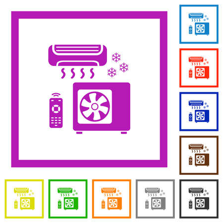 Air conditioning system flat color icons in square frames on white background