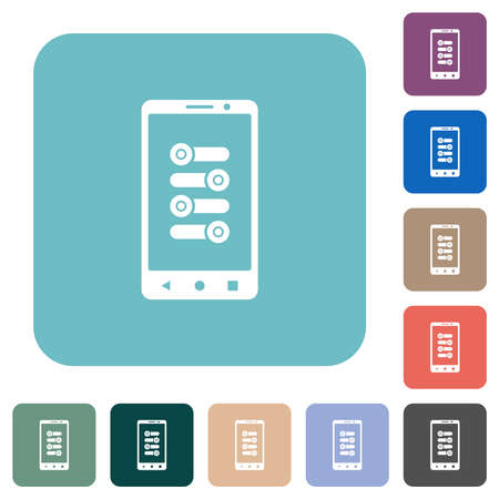 Mobile fine tune white flat icons on color rounded square backgrounds