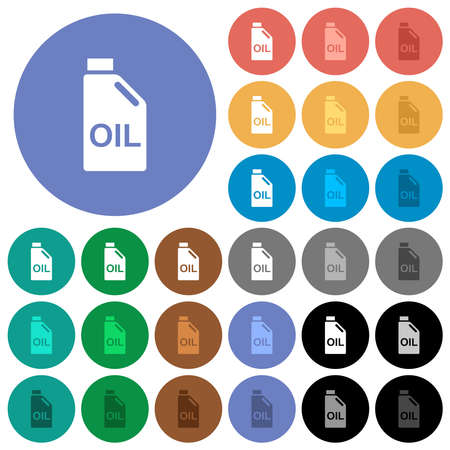 Oil canister multi colored flat icons on round backgrounds. Includes white, light and dark icon variations for hover and active status effects, and bonus shades.