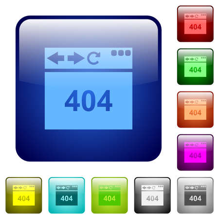 Browser 404 page not found icons in rounded square color glossy button set