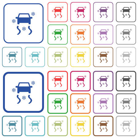 Snowy road dashboard indicator color flat icons in rounded square frames. Thin and thick versions included. Çizim