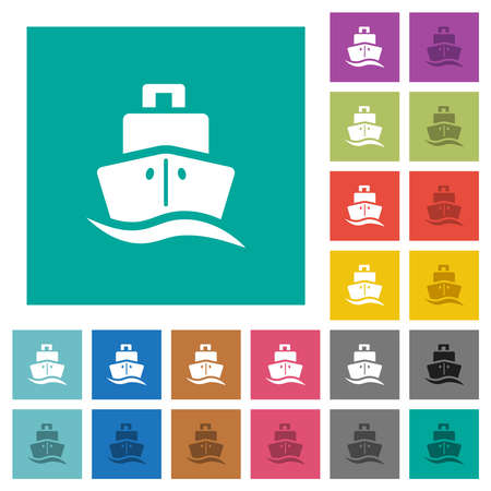 Cruise ship multi colored flat icons on plain square backgrounds. Included white and darker icon variations for hover or active effects.