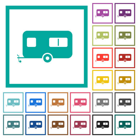 Caravan trailer flat color icons with quadrant frames on white background