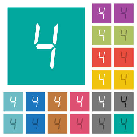 digital number four of seven segment type multi colored flat icons on plain square backgrounds. Included white and darker icon variations for hover or active effects.