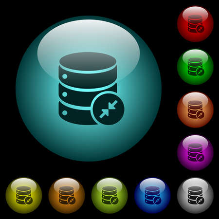 Shrink database icons in color illuminated spherical glass buttons on black background. Can be used to black or dark templates 일러스트
