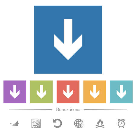Down arrow flat white icons in square backgrounds. 6 bonus icons included. 矢量图像