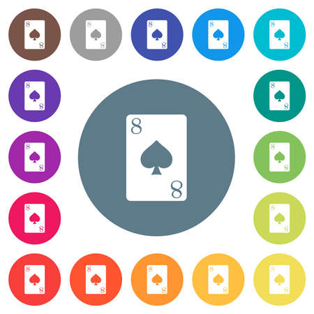 Eight of spades card flat white icons on round color backgrounds. 17 background color variations are included.