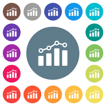 Bar graph with circles and lines flat white icons on round color backgrounds. 17 background color variations are included.