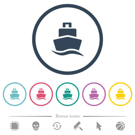Cruise ship flat color icons in round outlines. 6 bonus icons included.