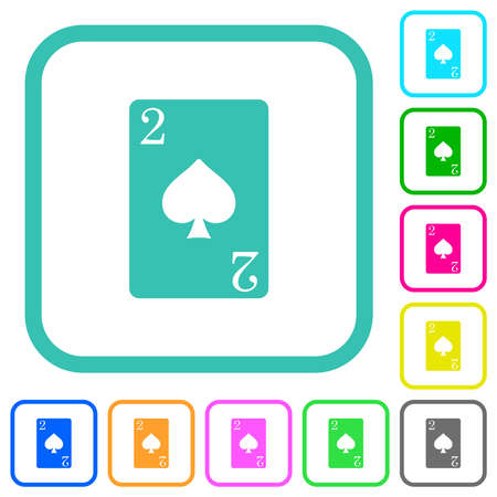 Two of spades card vivid colored flat icons in curved borders on white background