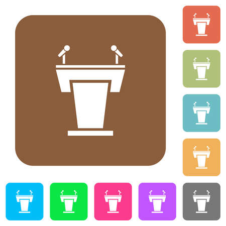 Conference podium with microphones flat icons on rounded square vivid color backgrounds.