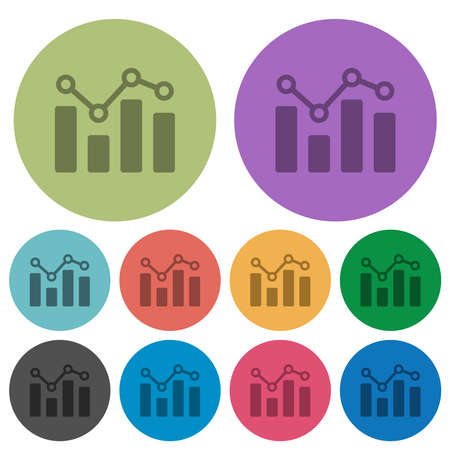 Bar graph with circles and lines darker flat icons on color round background 向量圖像