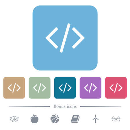Script code white flat icons on color rounded square backgrounds. 6 bonus icons included