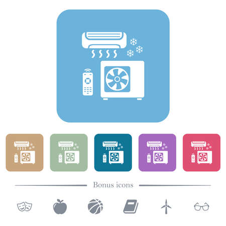 Air conditioning system white flat icons on color rounded square backgrounds. 6 bonus icons included