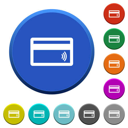 Contactless credit card round color beveled buttons with smooth surfaces and flat white icons