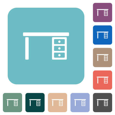 Drawer desk white flat icons on color rounded square backgrounds