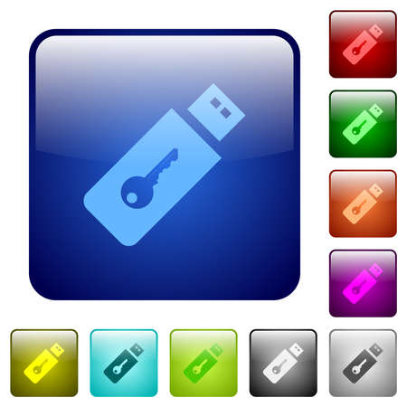 Hardware key icons in rounded square color glossy button set