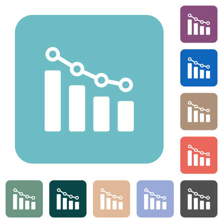 Bar graph with circles and lines white flat icons on color rounded square backgrounds 向量圖像
