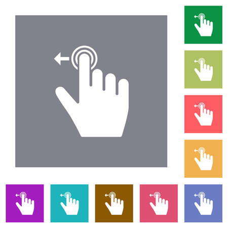 Right handed slide left gesture flat icons on simple color square backgrounds