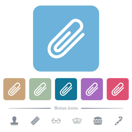Attachment white flat icons on color rounded square backgrounds. 6 bonus icons included