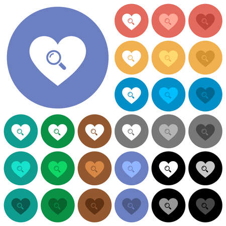 Dating multi colored flat icons on round backgrounds. Includes white, light and dark icon variations for hover and active status effects, and bonus shades.