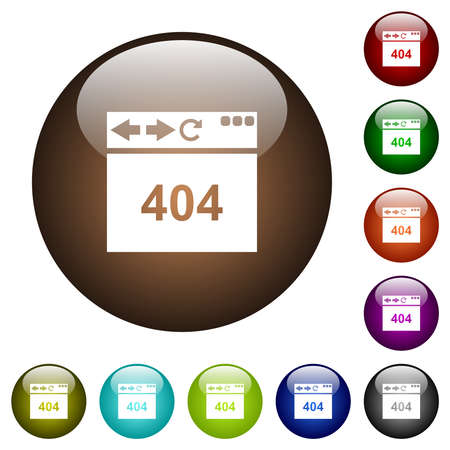 Browser 404 page not found white icons on round glass buttons in multiple colors 矢量图像