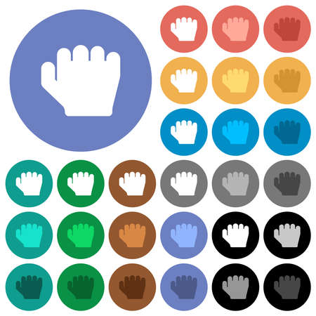 Right handed grab gesture multi colored flat icons on round backgrounds. Includes white, light and dark icon variations for hover and active status effects, and bonus shades.