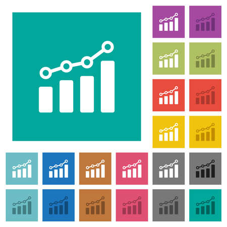 Bar graph with circles and lines multi colored flat icons on plain square backgrounds. Included white and darker icon variations for hover or active effects.