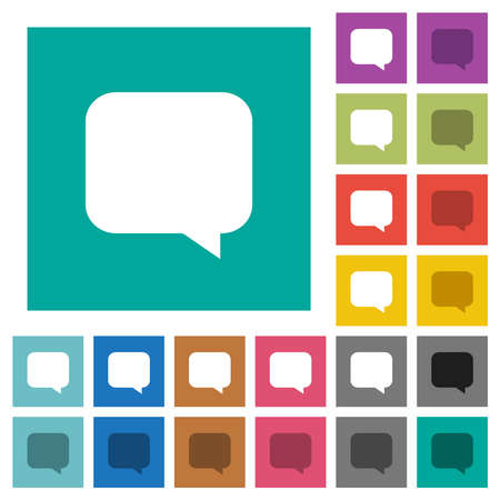 Empty chat bubble multi colored flat icons on plain square backgrounds. Included white and darker icon variations for hover or active effects.