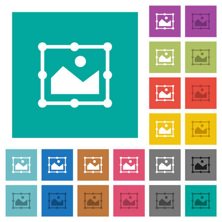 Image of free transform multi colored flat icons on plain square backgrounds. Included white and darker icon variations for hover or active effects. 矢量图像