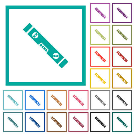 Spirit level flat color icons with quadrant frames on white background Ilustrace